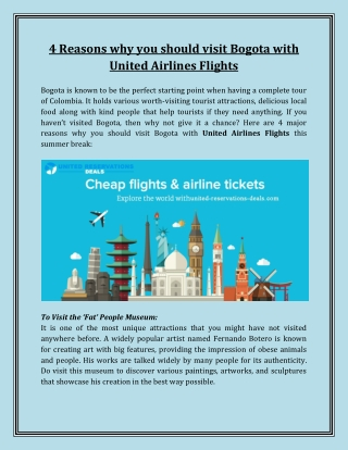 United Airlines - 4 Reasons why you should visit Bogota with United Airlines Flights