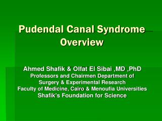 Pudendal Canal Syndrome Overview