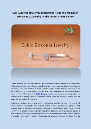 Cubic Zirconia Jewelry Manufacturer Helps The Women In Obtaining CZ Jewelry At The Pocket-Friendly Price
