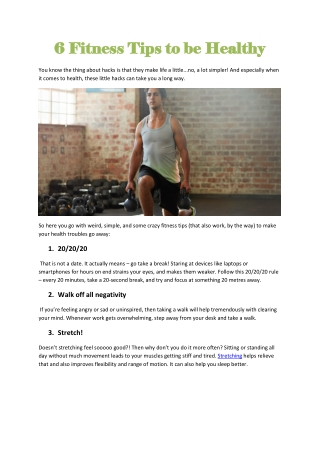 6 Fitness Tips to be Healthy