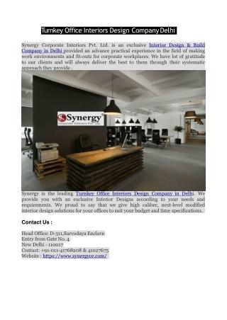Turnkey Office Interiors Design Company Delhi