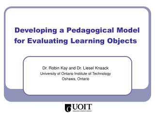 Developing a Pedagogical Model for Evaluating Learning Objects