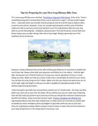 Tips for Preparing for your First Long Distance Bike Tour