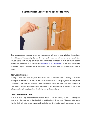 4 Common Door Lock Problems You Need to Know