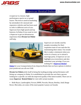 Supercar Rental Dubai