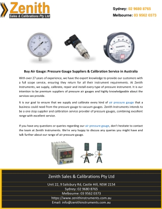Buy Air Gauge: Pressure Gauge Suppliers & Calibration Service in Australia