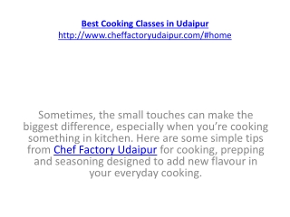 Best Cooking Classes in Udaipur