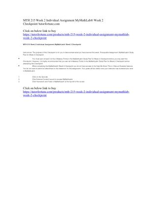 MTH 215 Week 2 Individual Assignment MyMathLab® Week 2 Checkpoint//tutorfortune.com