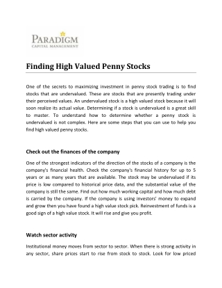 Finding High Valued Penny Stocks