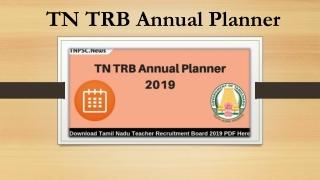 Download TN TRB Annual Planner 2019 Check All Tamil Nadu TRB Exams
