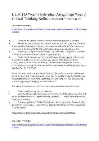HUM 115 Week 5 Individual Assignment Week 5 Critical Thinking Reflection//tutorfortune.com