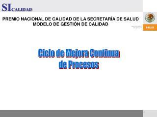 PREMIO NACIONAL DE CALIDAD DE LA SECRETARÍA DE SALUD MODELO DE GESTIÓN DE CALIDAD