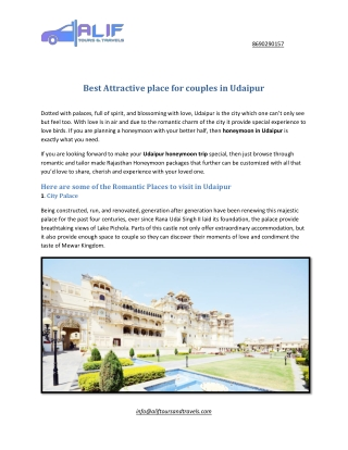 Best Attractive place for couples in Udaipur