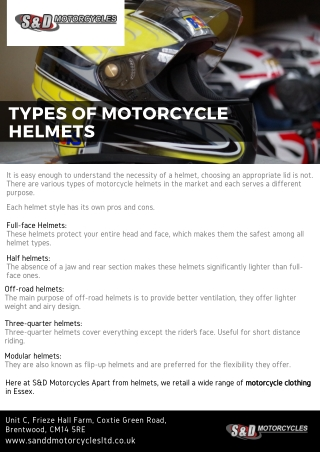 Types of motorcycle helmets - S&D Motorcycles