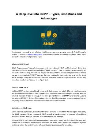 A Deep Dive into SNMP – Types, Limitations and Advantages