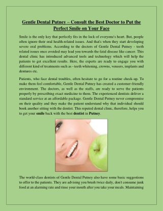 Gentle Dental Putney – Consult the Best Doctor to Put the Perfect Smile on Your Face