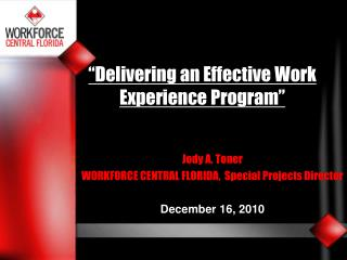 Delivering an Effective Work Experience Program