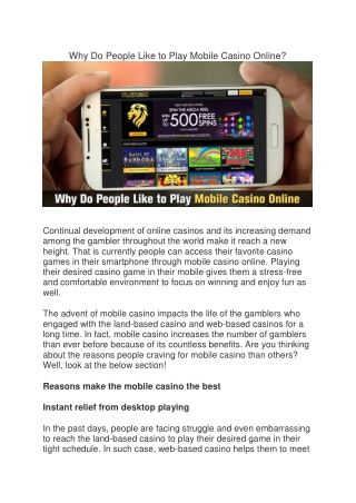 Why Do People Like to Play Mobile Casino Online?