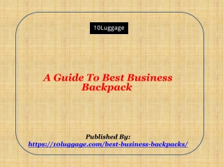 A Guide To Best Business Backpack