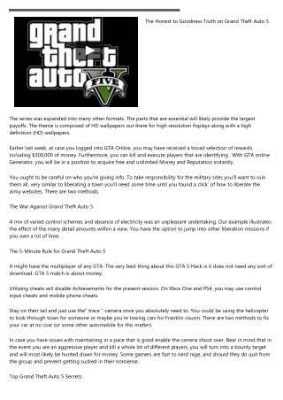 Top Choices of Grand Theft Auto 5