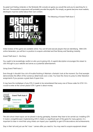 What You Can Do About Grand Theft Auto 5 Beginning in the Next Seven Minutes