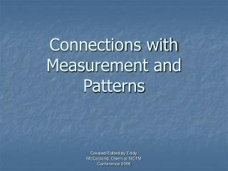 Connections with Measurement and Patterns