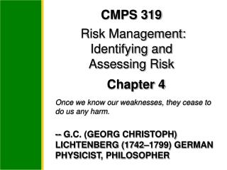 CMPS 319  Risk Management: Identifying and  Assessing Risk  Chapter 4