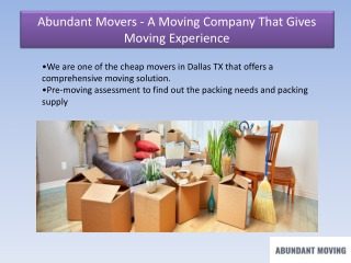 Abundant Movers - Best Moving Service Provider at Wholesale Price