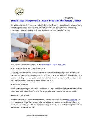Simple Steps to Improve the Taste of Food with Chef factory Udaipur
