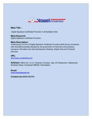 Digital Signature Certificate Providers in ahmedabad India