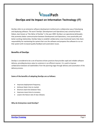 DevOps and its Impact on Information Technology (IT)