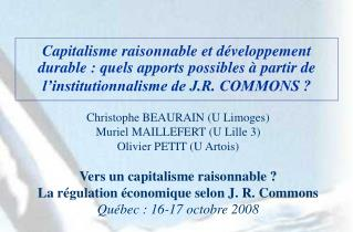 Capitalisme raisonnable et d veloppement durable : quels apports possibles   partir de l institutionnalisme de J.R. COMM