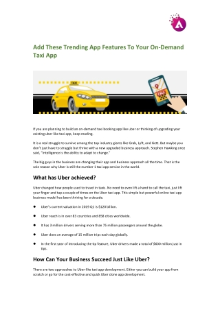 Add These Trending App Features To Your On-Demand Taxi App