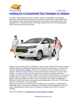 Looking for a Customized Tour Packages in Udaipur