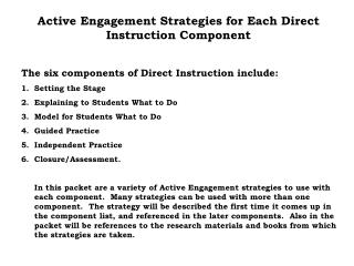 Active Engagement Strategies for Each Direct Instruction Component