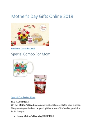 Mothers Day Gifts 2019 to India