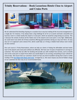 Trinity Reservations – Book Luxurious Hotels Close to Airport and Cruise Ports