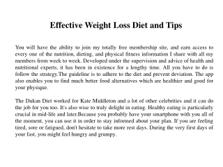Effective Weight Loss Diet and Tips