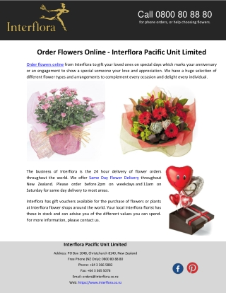 Order Flowers Online - Interflora Pacific Unit Limited