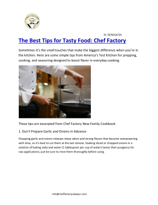 The Best Tips for Tasty Food: Chef Factory