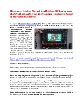 Microwave Devices Market worth $8.22 Billion by 2022