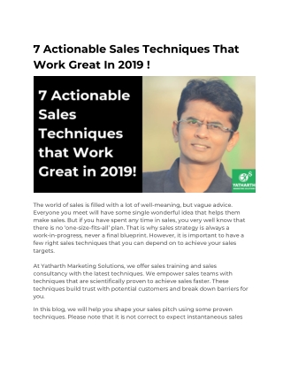 7 Actionable Sales Techniques That Work Great In 2019 !