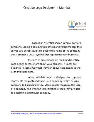 Best Logo designer in Mumbai Creative Logo Ideal Logo Designer