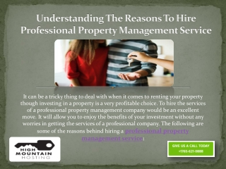 Understanding the Reasons to Hire Professional Property Management Service