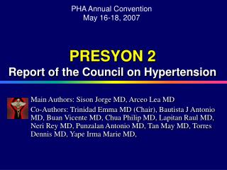 PRESYON 2 Report of the Council on Hypertension