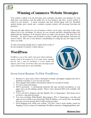 Winning eCommerce Website Strategies | eBusiness Guru