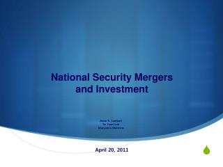 National Security Mergers  and Investment