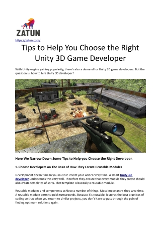 Tips to Help you Choose the Right Unity 3D Game Developer