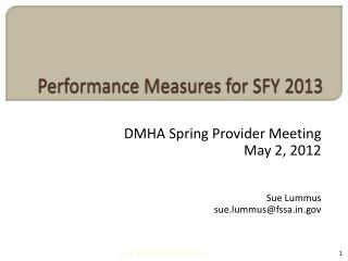 Performance Measures for SFY 2013