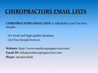 CHIROPRACTORS EMAIL LISTS